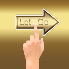 hand point golden arrow symbol