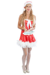 christmas girl with sheaf of money, isolated on white