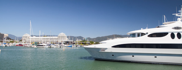 yacht in harbor Cairns