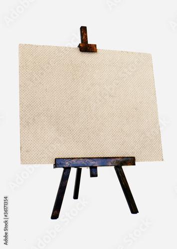 Empty canvas on a wooden tripod