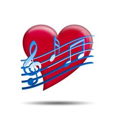 Corazon brillante rojo con simbolo musica