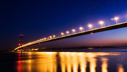 humber bridge at night