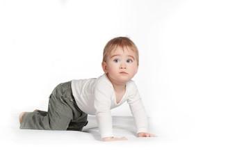 Baby boy isolated on white background