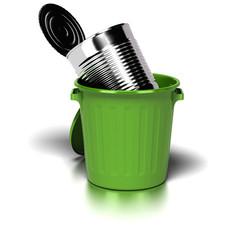 big steel can inside a green trash can