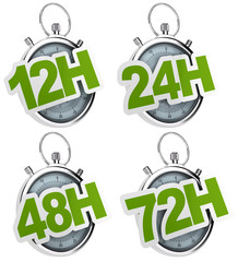 12H, 24H, 48H, 72H sticker over a gray stopwatch