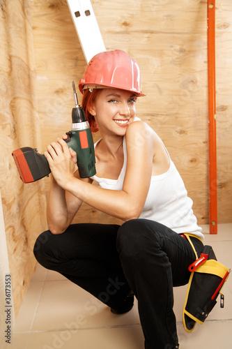 female carpenter on duty