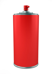 red paint spray can isolated on white background
