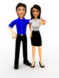 3D Successful business couple