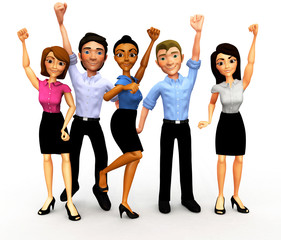 3D Successful business group