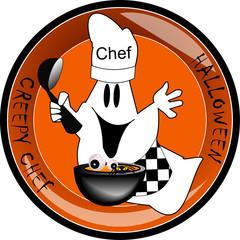 Creepy ghost button chef
