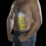 man with painted beer belly