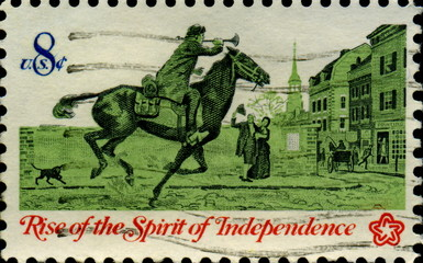 Rise of the spirit of independance. Clairon. US Postage.