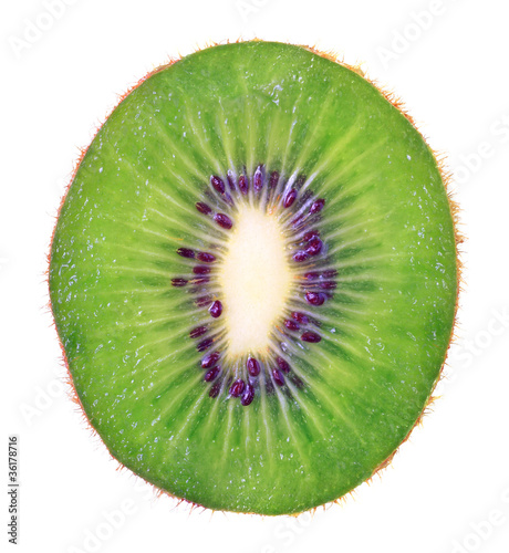 slice of kiwi on white background