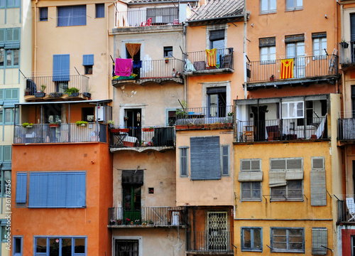 facades of residential buildings in the Jewish quarter Girona, S