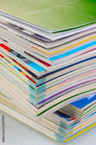 Stack of magazines closeup