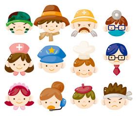 cartoon people job face icons