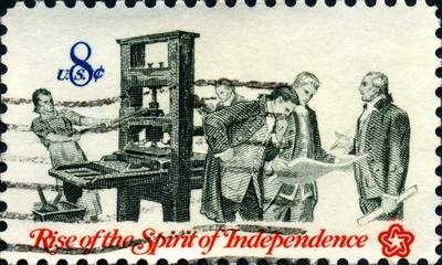 Rise of the spirit of independance. Imprimerie. US Postage.