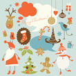 Christmas background, collection of icons