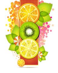 Orange banner with fruits slices
