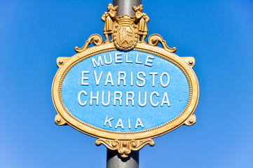Typical street sign of a street in Bilbao