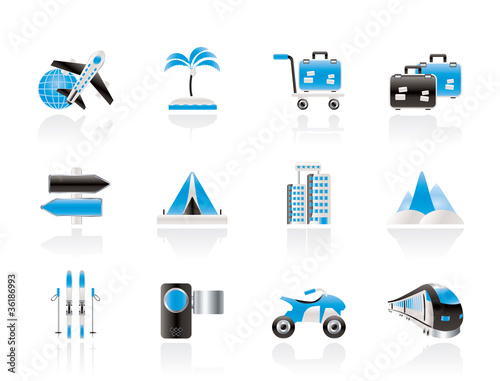 Holiday travel and transportation icons