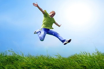 Fun man in jump on the outdoor background