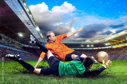 Foto op Aluminium Voetbal Football player on field of stadium