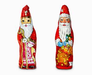 Schokoladenfigur Hl. Nikolaus und Weihnachtsmann