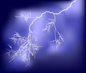 illustration with lightning in dark blue sky