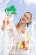 young woman washing window