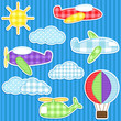 Set of cute vector colorful aircraft stickers
