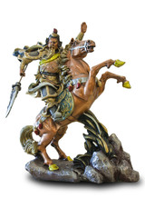 Chinese god of war statue with clipping path