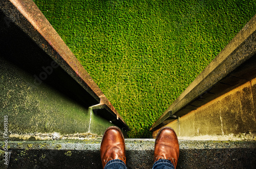 standing on edge