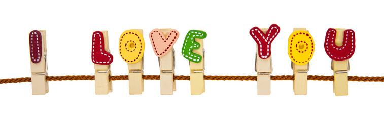 """I Love You"" phrase clip on the rope"