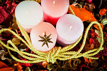 wax candles for decoration and christmas atmosphere