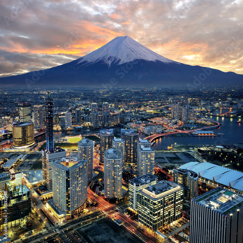 Poster Surreal view of Yokohama city and Mt. Fuji