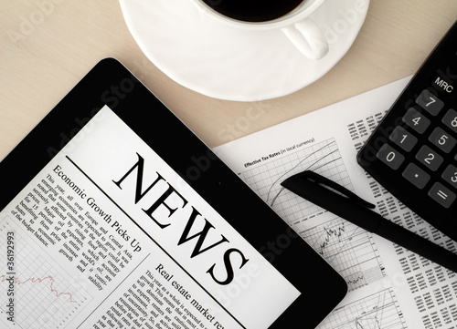 Tablet PC With News On Desk - 36192993
