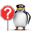 3d Penguin holding Question Mark Sign