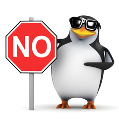 3d Penguin holding No Sign