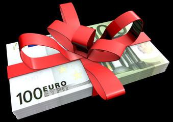 100 Eurobündel als Geschenk