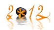 2012, galet noir et orchidée orange