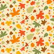 Autumn seamless background, vector illustration