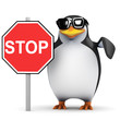 3d Penguin holding Stop Sign