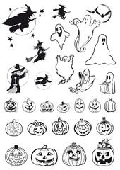 streghe, fantasmi e zucche, icone di Halloween