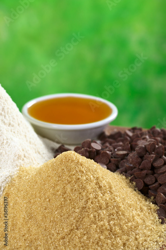 Granulated brown sugar with other baking ingredients