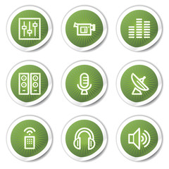 Media web icons, green stickers