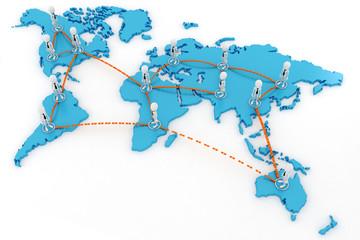 3d man global business concept