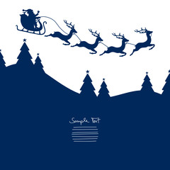 Christmas Sleigh Flying Blue Background