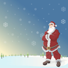 Santa Claus in landscape with snow and blue sky