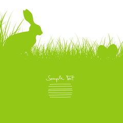 Easter Card Bunny Sitting In The Meadow & Eggs